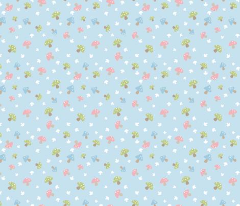 Woodland Mushroom - Pink on blue fabric by ink_tree on Spoonflower - custom fabric