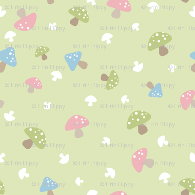Woodland Mushroom - Pink on green