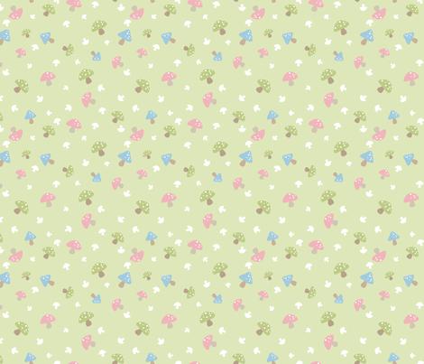 Woodland Mushroom - Pink on green fabric by ejrippy on Spoonflower - custom fabric