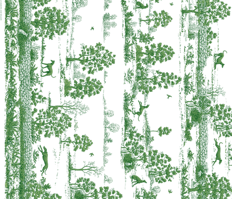 Green Greyhound Toile Panel Border ©2010 by Jane Walker fabric by artbyjanewalker on Spoonflower - custom fabric