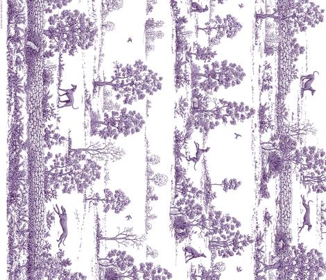Purple Greyhound Toile Panel/Border ©2010 by Jane Walker fabric by artbyjanewalker on Spoonflower - custom fabric