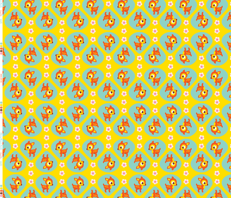Cherry Blossom Bambi Orange Yellow fabric by zesti on Spoonflower - custom fabric