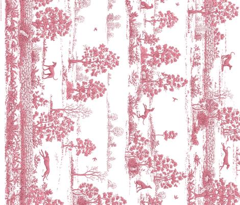 Dark Pink Greyhound Toile Panel Border ©2010 by Jane Walker fabric by artbyjanewalker on Spoonflower - custom fabric