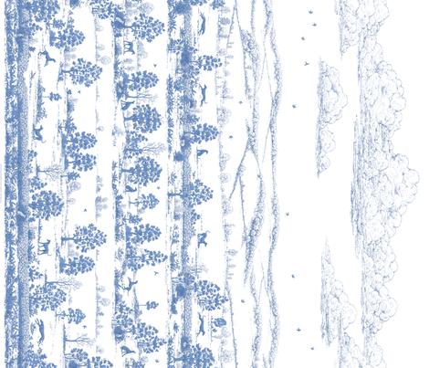 Soft Blue Greyhound Toile de Jouy Panel/Border ©2010 by Jane Walker fabric by artbyjanewalker on Spoonflower - custom fabric