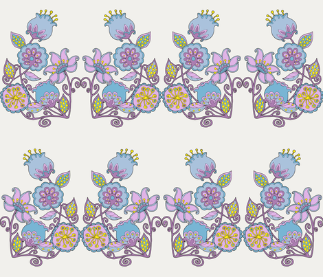 Summer Flowers brick white fabric by uzumakijo on Spoonflower - custom fabric