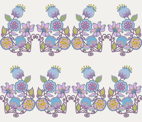 Summer Flowers brick white fabric by uzumakijo on Spoonflower - custom fabric