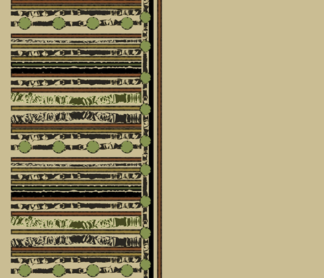 Hunters Stripe Border Beige fabric by karendel on Spoonflower - custom fabric