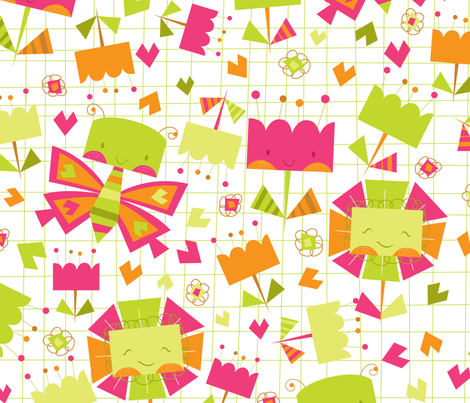 Butterfly and Flowers fabric by tamara_henderson on Spoonflower - custom fabric