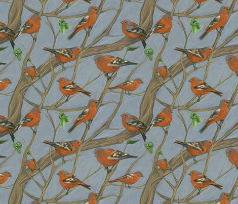 The Chaffinch fabric by ravynka on Spoonflower - custom fabric