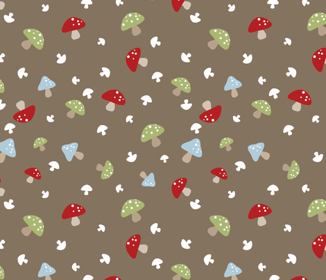 Woodland Mushrooms - Red on brown fabric by ejrippy on Spoonflower - custom fabric