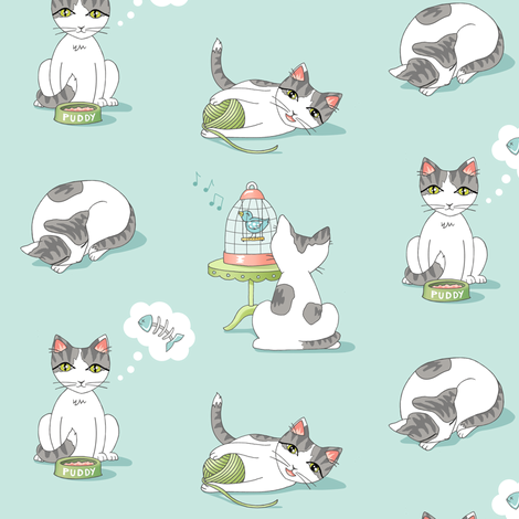 Kitty Kawaii fabric by pattysloniger on Spoonflower - custom fabric