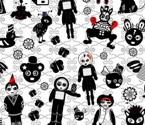 kawaiicutedark fabric by maruqui on Spoonflower - custom fabric