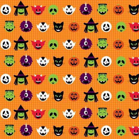 Kawaii Halloweenies - Orange fabric by lulakiti on Spoonflower - custom fabric