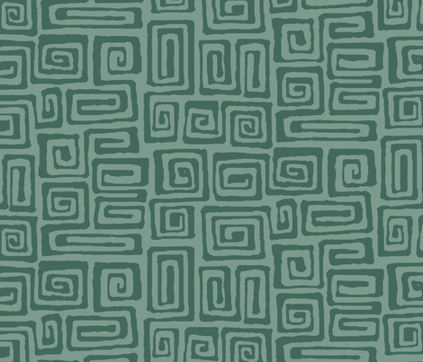 square spiral - verdigris fabric by monmeehan on Spoonflower - custom fabric
