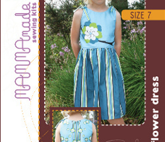 Blue Flower Dress Sewing Kit -  Size 7