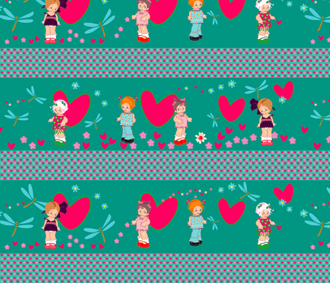 kuwai girls floral gardenjpg fabric by fiona_mcdonald_juicyapple on Spoonflower - custom fabric