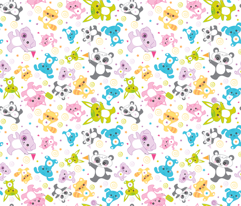 kawaii: happy critters - © Lucinda Wei fabric by lucindawei on Spoonflower - custom fabric