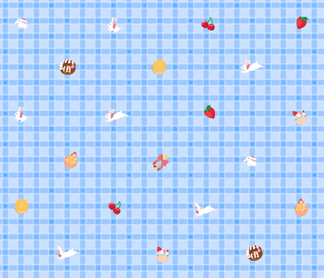 Sweets n Bunnies Check - BLUE fabric by trirose on Spoonflower - custom fabric