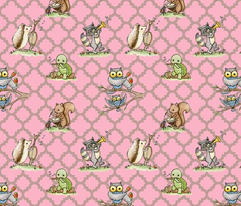 Critter Jamboree pink fabric by mytinystar on Spoonflower - custom fabric