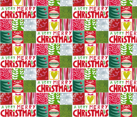 A Very Merry Christmas fabric by nsta on Spoonflower - custom fabric
