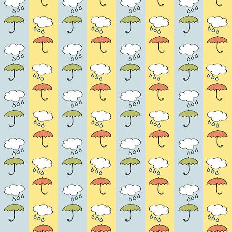 Splish-Splash - Umbrellas on blue and yellow Stripes Nursery fabric by sonstnochwas on Spoonflower - custom fabric