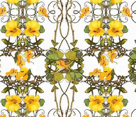 yellow_nasturtium_pattern fabric by wren_leyland on Spoonflower - custom fabric