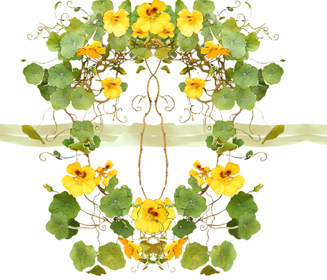 Yellow_Nasturtium_chair_back fabric by wren_leyland on Spoonflower - custom fabric