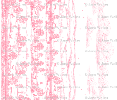 Light Pink Greyhound Toile Panel Border ©2010 by Jane Walker