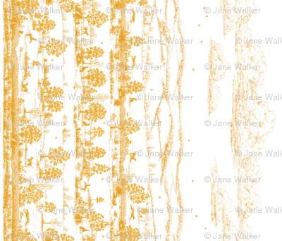 Dark Gold Greyhound Toile Panel / Border ©2010 by Jane Walker