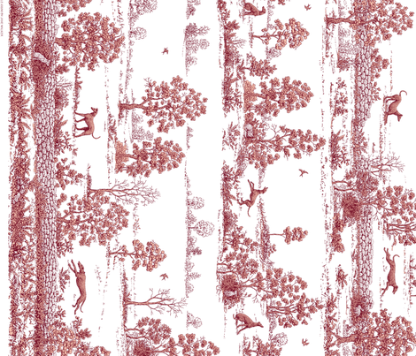 Red Greyhound Toile du Jouy Panel/Border ©2010 by Jane Walker fabric by artbyjanewalker on Spoonflower - custom fabric