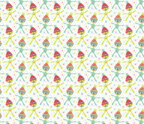 Harper's Happy Clowns (white background) fabric by mktextile on Spoonflower - custom fabric