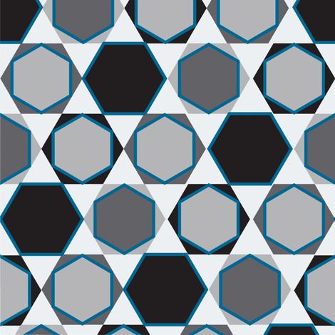 Hexagons  (Small Blue) fabric by nekineko on Spoonflower - custom fabric