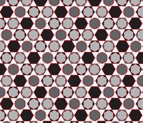 Hexagons (Small Red) fabric by nekineko on Spoonflower - custom fabric