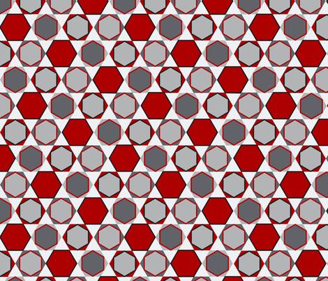 Hexagons (Big Red) fabric by nekineko on Spoonflower - custom fabric