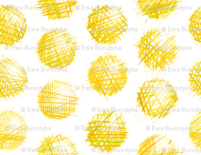 sketchy dots - yellow on white