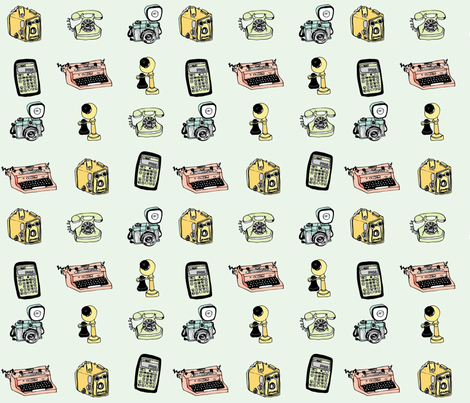 vintage technology fabric by annaboo on Spoonflower - custom fabric