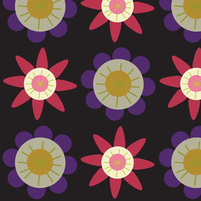 floral pattern in burgundy and purple