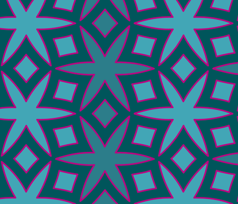 Jasmine and Diamonds (Teal) fabric by nekineko on Spoonflower - custom fabric