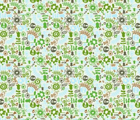 avian flora (green) fabric by mondaland on Spoonflower - custom fabric