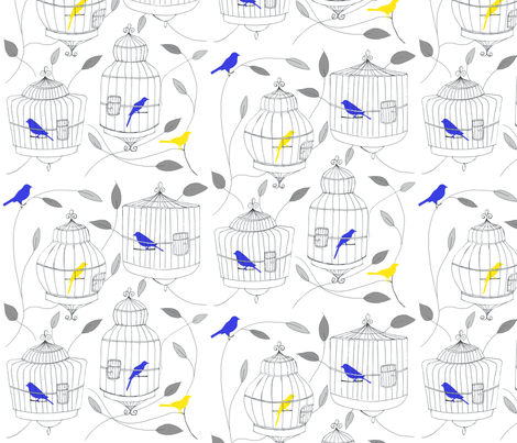 Blue and Yellow Birds and Cages fabric by dorolimited on Spoonflower - custom fabric