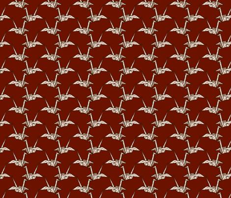 Paper Crane - White Floral on Dark Red fabric by siya on Spoonflower - custom fabric