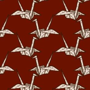 Paper Crane - White Floral on Dark Red