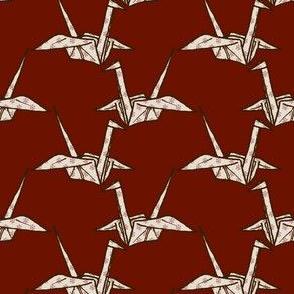 Paper Crane - White Floral on Dark Red