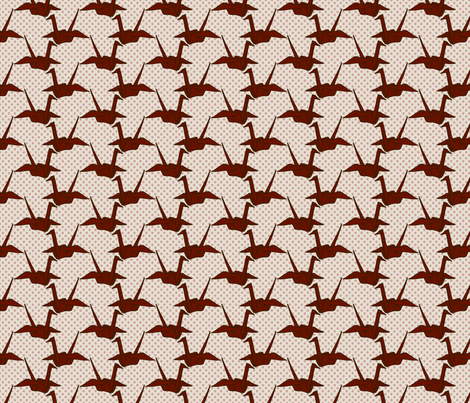Paper Crane - Red on White Floral fabric by siya on Spoonflower - custom fabric