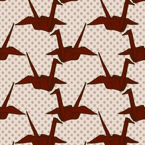 Paper Crane - Red on White Floral