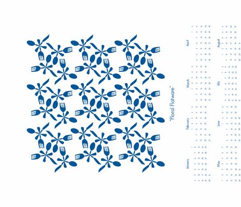 Floral-Flatware-Deep-Sea fabric by organizeandamuse on Spoonflower - custom fabric