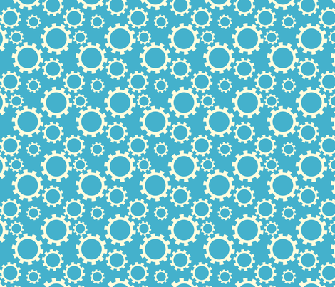 Gears Blue fabric by newmomdesigns on Spoonflower - custom fabric