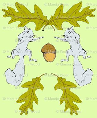 Squirrel & Acorn Damask 2