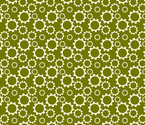 Gears Green fabric by newmomdesigns on Spoonflower - custom fabric