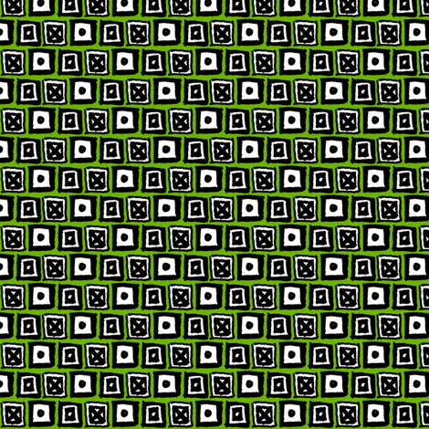 Doodle Boxes - Green fabric by siya on Spoonflower - custom fabric